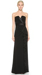 Badgley Mischka Collection Tux Ruffle Gown Black