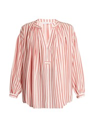 Sonia Rykiel Striped Silk Crepe De Chine Blouse Red Stripe