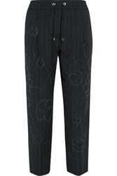 Brunello Cucinelli Cropped Embellished Pinstriped Wool And Linen Blend Straight Leg Pants Midnight Blue