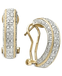 Victoria Townsend Rose Cut Diamond Hoop Earrings In 18K Gold Over Sterling Silver 1 2 Ct. T.W.
