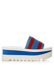Stella Mccartney Striped Flatform Slides Blue Stripe