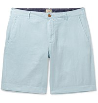 Faherty Malibu Linen And Cotton Blend Shorts Blue