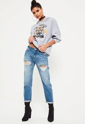 Missguided Blue Relaxed Boyfriend Low Rise Jeans