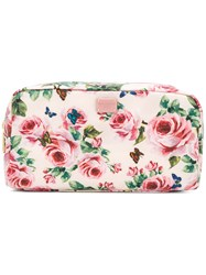 Dolce And Gabbana Rose Print Make Up Bag Nylon Pink Purple