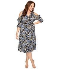 Kiyonna Barcelona Wrap Dress Floral Meadow Women's Dress Black