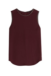 Theory Silk Sleeveless Top With Leather Trim Brown