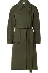 Grey Jason Wu Woman Convertible Leather Trimmed Cotton Blend Twill Coat Army Green