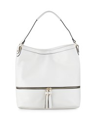 Neiman Marcus Penelope Faux Leather Hobo Bag Bone Ivory