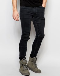Dark Future Extreme Super Skinny Jeans In With Knee Patches And D Ring Black