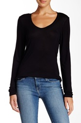 14Th And Union Long Sleeve Scoop Neck Tee Black