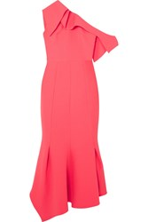 Safiyaa Juniper One Shoulder Paneled Stretch Crepe Midi Dress Pink Gbp