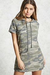 Forever 21 Camo Hooded Dress Olive Taupe