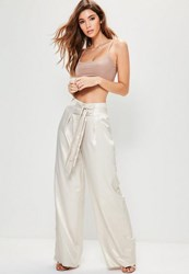 Missguided Nude Hammered Satin Double Tie Front Wide Leg Trousers Stone