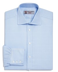 Turnbull And Asser Large Textured Check Classic Fit Dress Shirt Light Blue