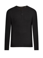 Atm Anthony Thomas Melillo Long Sleeved Ribbed Jersey Henley T Shirt Black