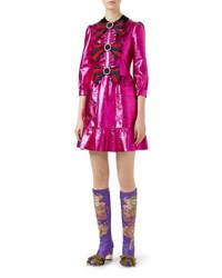 Gucci Crackle Leather 3 4 Sleeve Dress Fuchsia