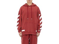 Off White Men's Seeing Things Cotton Fleece Hoodie Burgundy Red