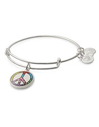 Alex And Ani Peace Sign Art Infusion Charm Bangle Silver