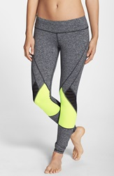 Pink Lotus Colorblock Leggings Heather Grey Lime