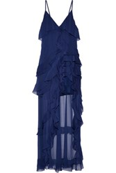 Alice Olivia Laverne Asymmetric Ruffled Crepon Gown Navy