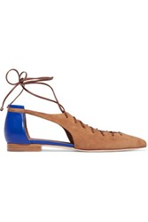 Malone Souliers Montana Cutout Suede And Leather Point Toe Flats Light Brown