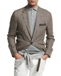 Brunello Cucinelli Deconstructed Prince Of Wales Sport Jacket Brown