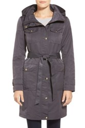 Ellen Tracy Belted Utility Trench Coat Gray