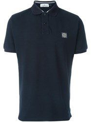 Stone Island Logo Patch Polo Shirt Blue