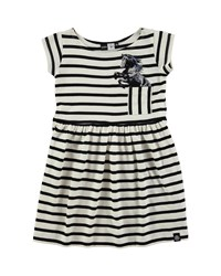 Molo Cap Sleeve Striped A Line Dress Black Cream