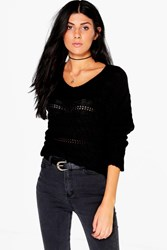 Boohoo Vneck Cable Knit Jumper Black