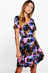 Boohoo Woven Wrap Front Floral Print Dress Multi