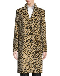 Piazza Sempione Double Breasted Animal Print Velveteen Topper Coat Beige