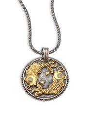 Konstantino Zodiac Diamond 18K Gold And Sterling Silver Pisces Charm Pendant Silver Gold