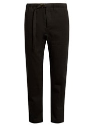 Fanmail Drawstring Waist Hemp And Cotton Blend Trousers Black