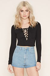 Forever 21 Lace Up Crop Top