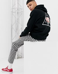 Huf Hoodie With Japanese Floral Triple Triangle Back Print In Black