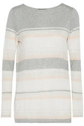 Vince Striped Stretch Jersey T Shirt Gray