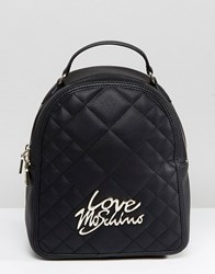 Love Moschino Quilted Backpack With Logo Black