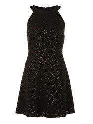 Yumi Sequinned Lace Dress Black