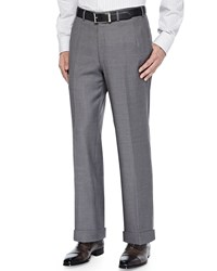 Brioni Twill Flat Front Trousers Gray Blue