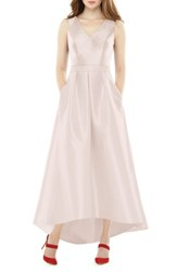 Alfred Sung Women's High Low Sateen Twill Gown Blush