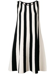 Roberto Collina Striped Flared Dress Women Polyester Viscose M Black