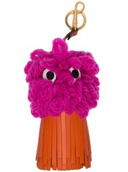 Anya Hindmarch Orange And Fuchsia Shag Shop Eyes Leather Charm Pink And Purple