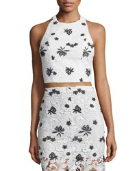 Alice Olivia Tru Lace Racerback Crop Top White Black