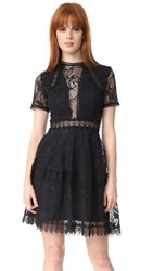 Nicholas Iris Lace Mini Paneled Dress Navy
