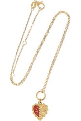 Foundrae Mini Heart Love Token 18 Karat Gold And Enamel Necklace R