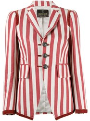 Roberto Cavalli Striped Fitted Blazer Red