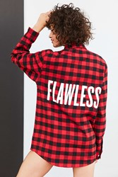 Urban Outfitters Beyonce Flawless Buffalo Check Flannel Shirt Red