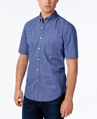 Club Room Men's Micro Check Short Sleeve Shirt Only At Macy's Navy Stone
