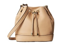 Calvin Klein Pebble Leather Drawstring Nude Drawstring Handbags Beige